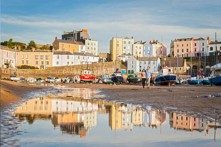 Tenby harbour and houses